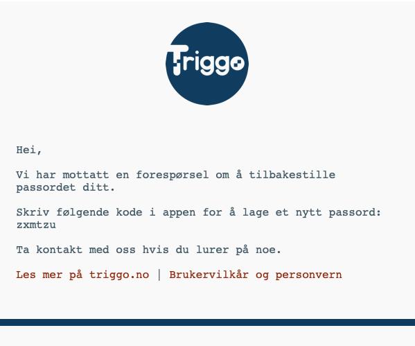 Skjermbilde av e-post fra Triggo